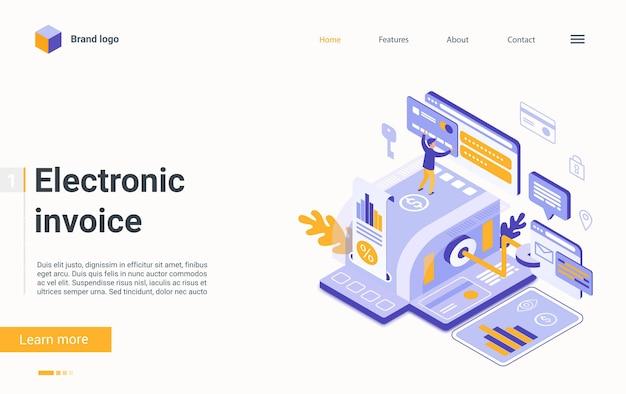 Pagamento online isometrico della pagina di destinazione della tecnologia di finanziamento della fattura elettronica della fattura