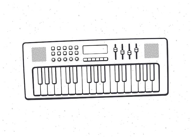 Sintetizzatore di strumenti musicali con tastiera elettronica outline vector illustration