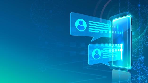 Icona del telefono con messaggio elettronico, tecnologia finanziaria, sfondo blu.