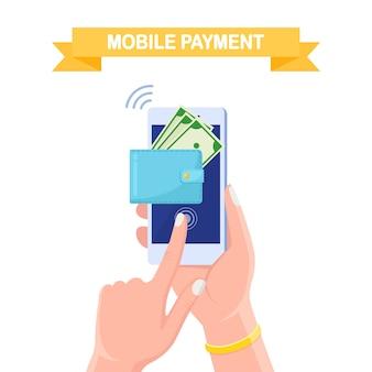 Portafoglio mobile elettronico su smartphone