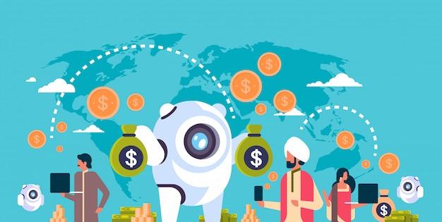 Popolo indiano di bot di soldi elettronici bancari utilizzando banner applicazione di pagamento elettronico