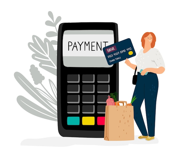 Moneta elettronica. la ragazza paga gli acquisti con carta di credito o di debito. illustrazione vettoriale di pagamento senza contanti online
