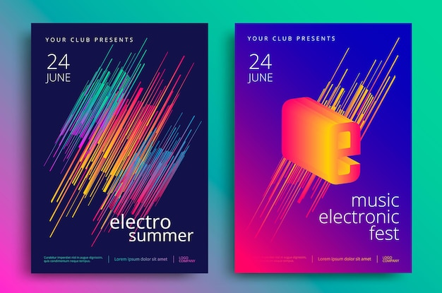 Festival di musica elettronica e poster estivo di musica elettronica. volantino festa club moderno. gradienti astratti di musica di sottofondo.