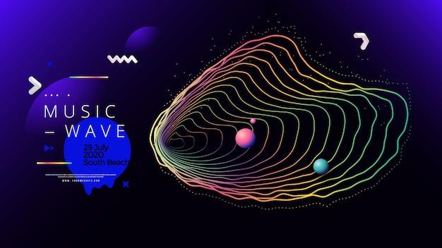 Festival di musica elettronica estate onda poster design gradienti astratti sfondo sonoro con linee ondulate
