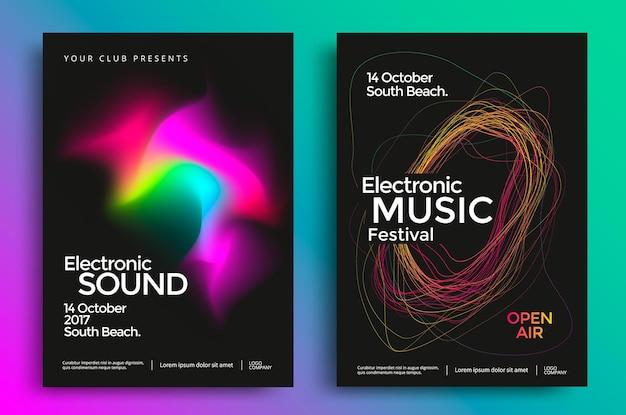 Manifesto del festival di musica elettronica con linee sfumate astratte brochure del volantino sonoro