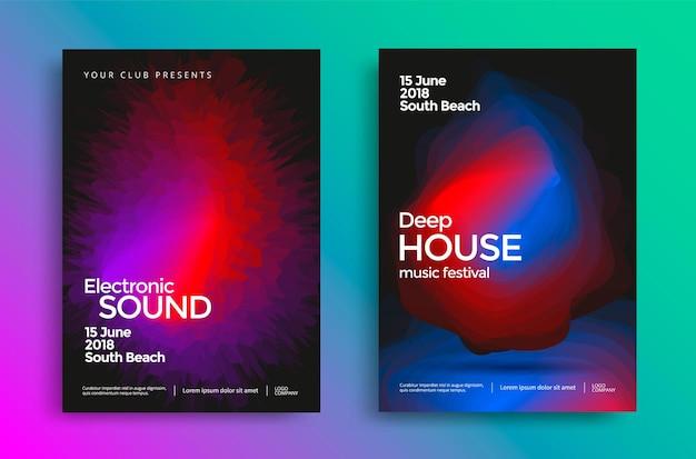 Manifesto del festival di musica elettronica con forme astratte sfumate. modello di disegno vettoriale per flyer, presentazione, brochure.