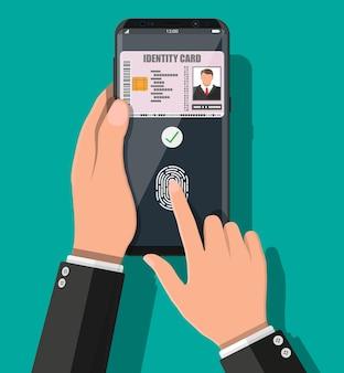 Password elettronica. autorizzazione di sicurezza con password e impronte digitali. mano con l'applicazione della carta d'identità dello smartphone. macchina per il controllo degli accessi, presenze. lettore di tessere di prossimità. illustrazione vettoriale piatta