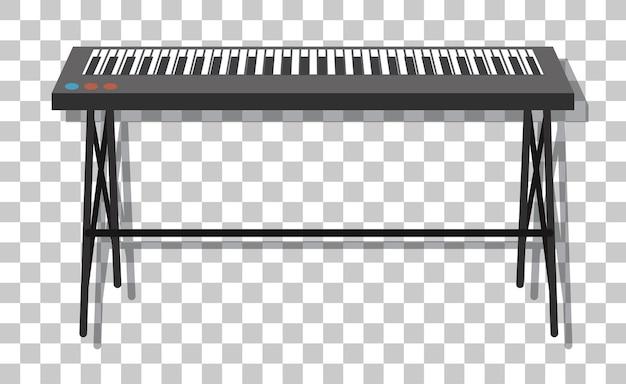 Pianoforte elettronico con supporto in metallo isolato su sfondo trasparente