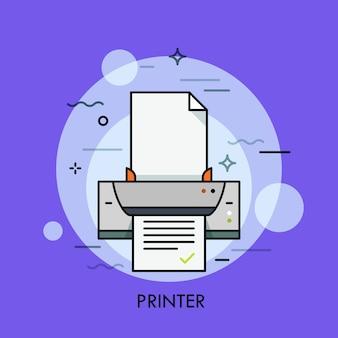 Stampante elettronica, dispositivo hardware per la riproduzione di documenti cartacei o foto. concetto di stampa digitale, a matrice di punti e a getto d'inchiostro. illustrazione colorata Vettore Premium