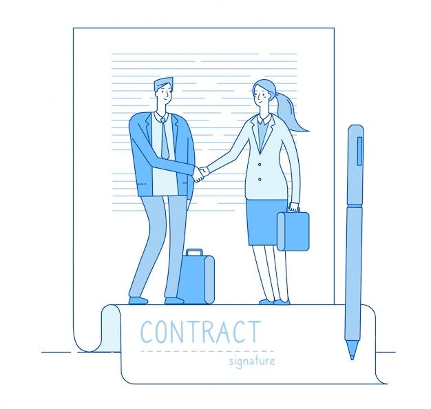 Concetto di firma elettronica. handshake di riunione del contratto dell'avvocato dell'uomo d'affari. investimenti finanziari, sfondo contratti intelligenti Vettore Premium