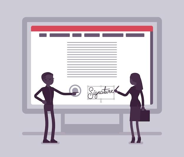 Firma elettronica sullo schermo del pc. tecnologia di firma per accordi di firma di partnership commerciali maschili e femminili, dati di e-commerce sicuri in formato elettronico. illustrazione vettoriale, personaggi senza volto