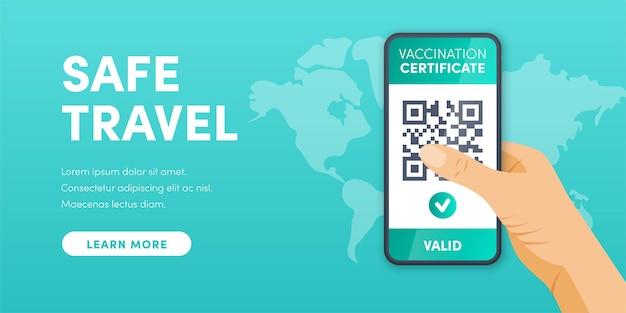Certificato di vaccinazione covid19 valido elettronico qr code sullo schermo dello smartphone vettore health pass app