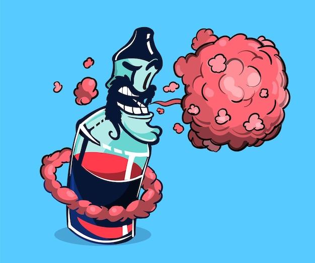 Liquido di svapo elettronico che espira un sacco di vapori di bacche, illustrazione di cartone animato