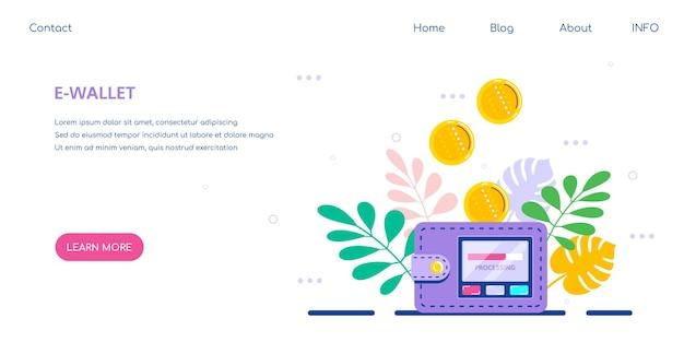 Concetto di portafoglio elettronico. trasferimento di denaro al concetto di portafoglio elettronico, risparmio finanziario e pagamento online.