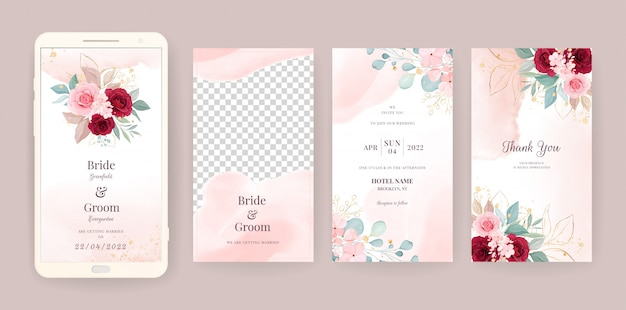 Il modello elettronico della carta dell'invito di nozze ha messo con il fondo floreale e dell'acquerello. illustrazione di fiori per storie sui social media, salva la data, saluto, rsvp, grazie