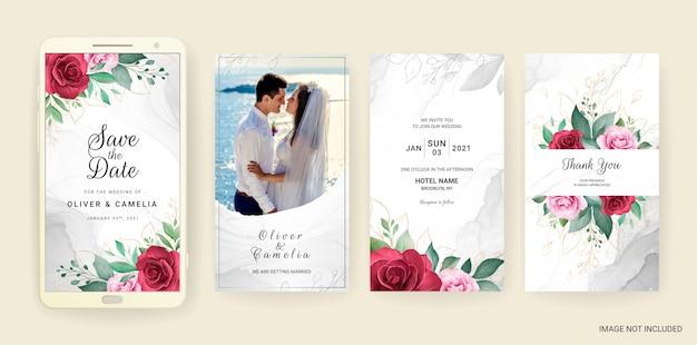 Il modello elettronico della carta dell'invito di nozze ha messo con l'acquerello e l'oro floreali.