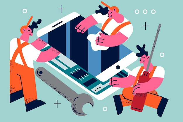 Illustrazione di servizio di riparazione elettronica