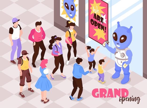 Inaugurazione delle vendite di elettronica con il promotore di prodotti nel costume del personaggio del gioco per computer che saluta l'illustrazione isometrica dei clienti