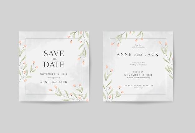 Elegan wedding card square con bellissimo fiore acquerello