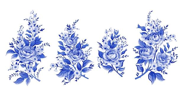 Illustrazione di eleganza con bouquet di fiori rosa isolato su priorità bassa bianca. elementi di design a colori.