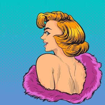 Volto di donna di eleganza pop art wow guardare indietro