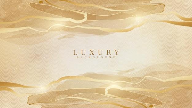 Elegante sfondo oro astratto con elementi lucidi.