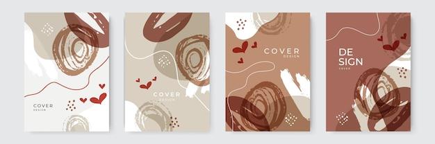 Eleganti modelli di sfondo universale alla moda organico astratto. estetica minimalista. set di composizioni di forme organiche. disegnare a mano elementi di design astratti in colori pastello.
