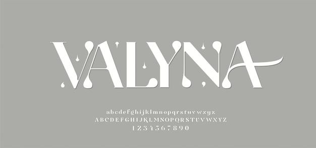 Carattere e numero eleganti delle lettere di alfabeto. disegni classici alla moda con lettere minimali. font tipografici regolari maiuscoli e minuscoli.