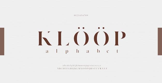 Carattere e numero eleganti delle lettere di alfabeto. disegni classici di moda minimale. font tipografici regolari maiuscoli e minuscoli.
