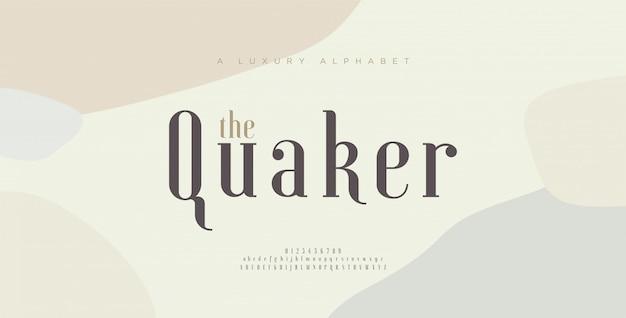 Carattere e numero eleganti delle lettere di alfabeto. disegni classici di moda minimale. caratteri tipografici maiuscoli e minuscoli.