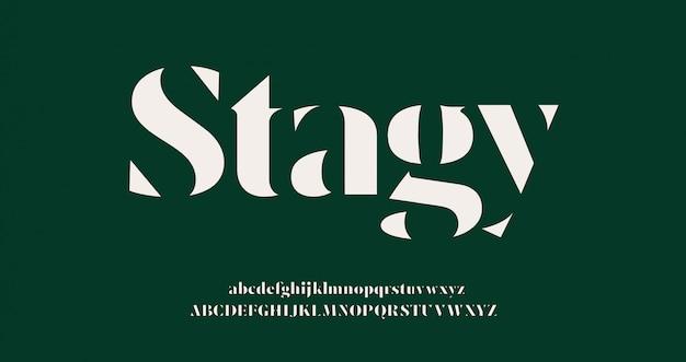 Carattere e numero di lettere dell'alfabeto eleganti. stencil classico lettering moda minimale