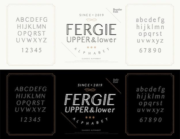 Elegante alfabeto lettere font. matrimonio classico