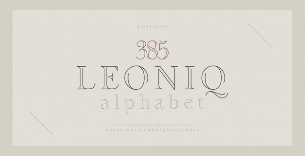 Elegante alfabeto lettere serif font e numero. lettere classiche linea sottile moda minima.