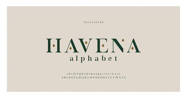 Elegante alfabeto lettere serif font e numero. caratteri tipografici classici maiuscoli, minuscoli e numeri regolari.