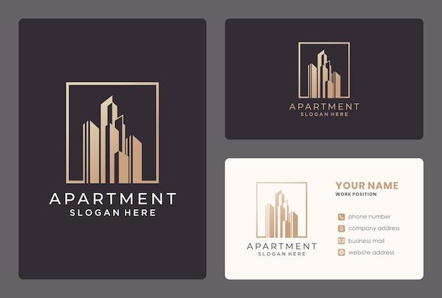 Elegante design del logo dell'appartamento / edificio con biglietto da visita.