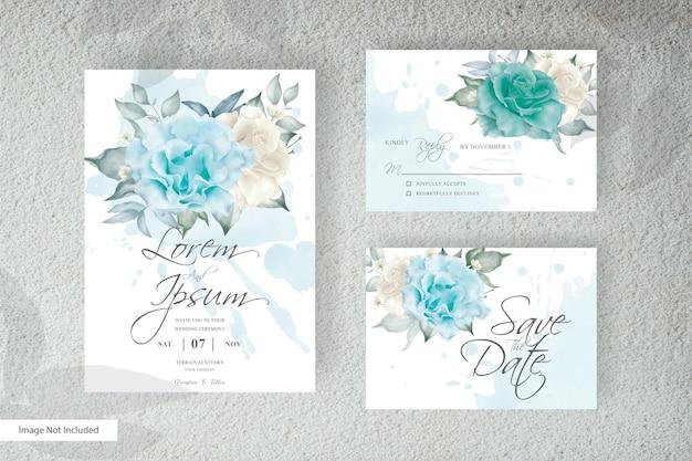Disposizione elegante floreale invito a nozze set modello di progettazione