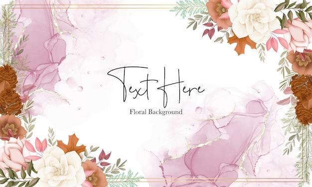 Elegante sfondo floreale autunnale con fiori di rosa e pino