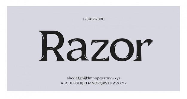 Carattere e numero di lettere di alfabeto impressionante elegante. disegni classici di moda minimale. font tipografici regolari maiuscoli e minuscoli. illustrazione vettoriale