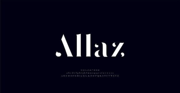 Elegante carattere di lettere dell'alfabeto fantastico e numero di caratteri classici caratteri tipografici alla moda minimali