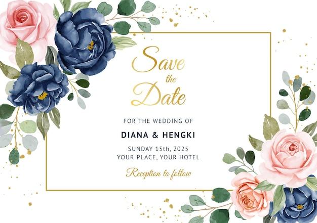Elegante sfondo blu marino e pesca floreale sul modello di carta di invito a nozze