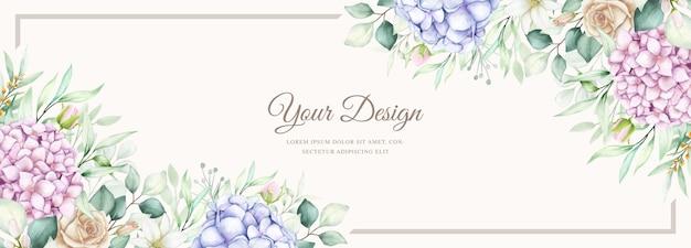 Banner elegante con fiori di ortensia dell'acquerello Vettore Premium
