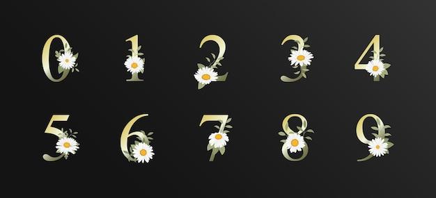 Elegante bella decorazione numero per matrimonio con motivi floreali