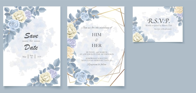 Invito a nozze elegante bellissimo floreale morbido e foglie