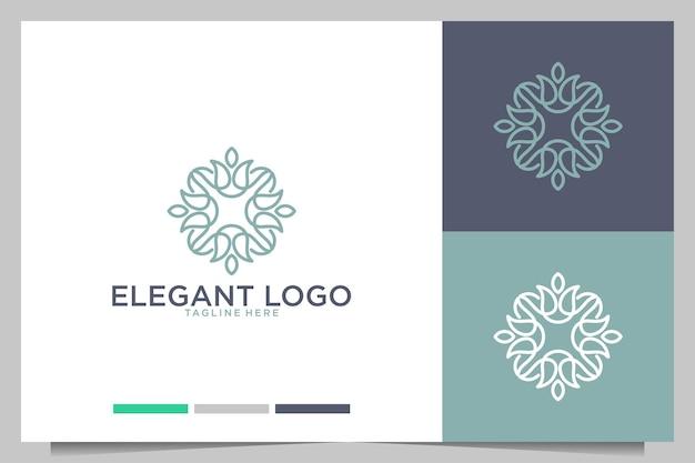 Elegante design del logo della geometria di bellezza