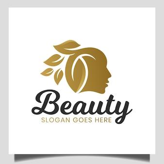 Elegante volto di donna di bellezza con foglia naturale per cosmetici, cura della pelle, logo del prodotto di bellezza naturale
