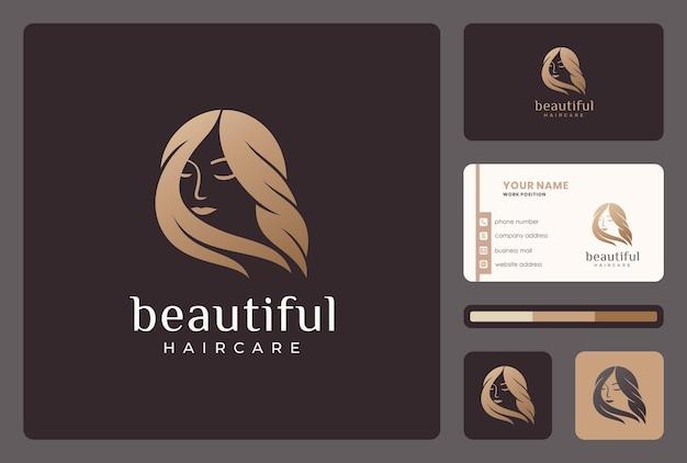 Donna di bellezza elegante, design del logo parrucchiere con modello di biglietto da visita.