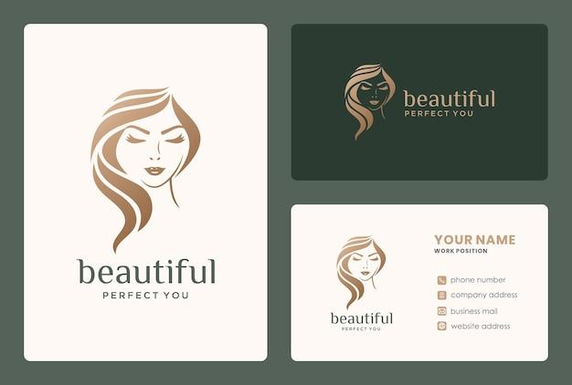 Elegante design del logo della donna di bellezza per salone, rifacimento, parrucchiere, cure di bellezza, trucco da sposa.