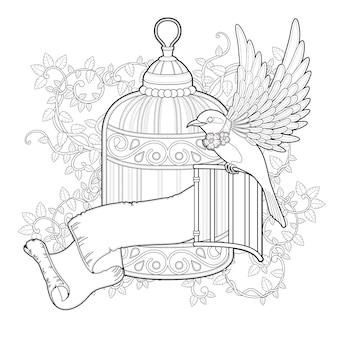 Pagina da colorare uccello elegante in stile squisito
