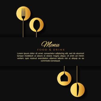Elegante menu di sfondo nero con posate d'oro