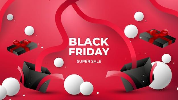 Elegante sfondo nero venerdì con colore rosso